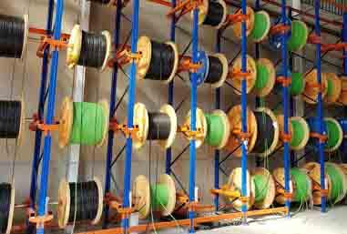 Estanterías para almacenar productos enrollados en bobinas